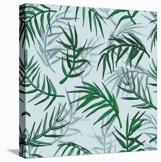 Palm Jungle Leaves Pattern-Mirifada-Stretched Canvas Print