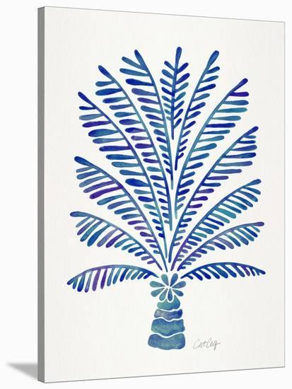 Palm Tree Navy-Cat Coquillette-Stretched Canvas Print