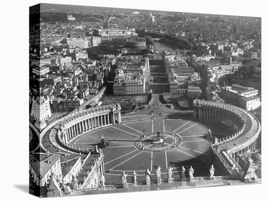 Panaromic View of Rome from Atop St. Peter's Basilica Looking Down on St. Peter's Square-Margaret Bourke-White-Stretched Canvas Print