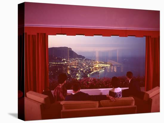 Panoramic View from the Vistaero Hotel Perched on the Edge of a Cliff Above Monte Carlo, Monaco-Ralph Crane-Stretched Canvas Print