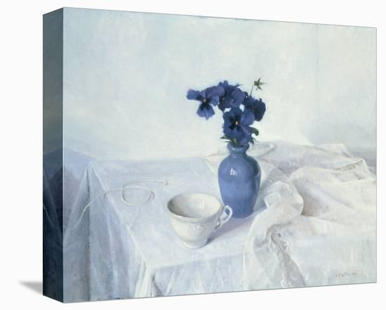 Pansies in a Blue Vase-Arthur Easton-Stretched Canvas Print