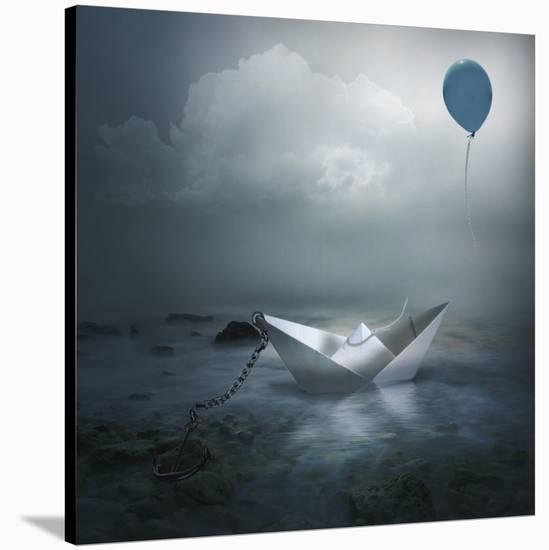 Paper Boat and Balloon-Natalia Simongulashvili-Stretched Canvas Print