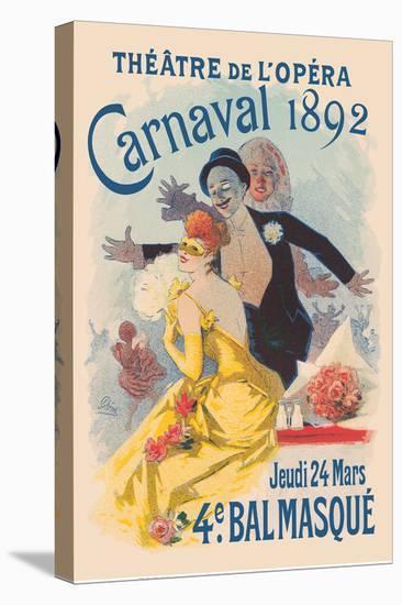 Paris Opera (Théâtre de L'Opéra) - Carnival Masquerade-Jules Chéret-Stretched Canvas Print