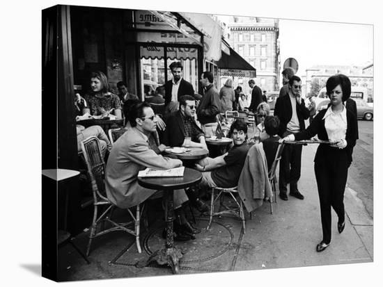 Parisians at a Sidewalk Cafe-Alfred Eisenstaedt-Stretched Canvas Print