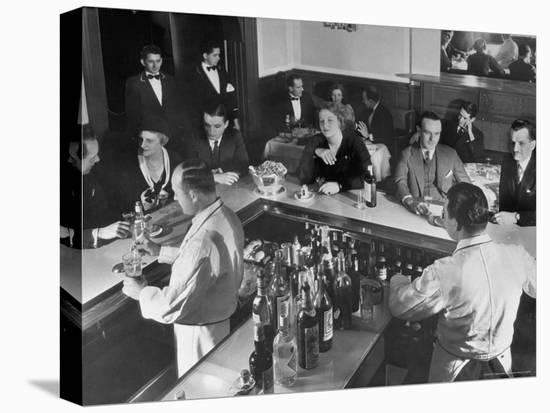 Patrons Enjoying the Ambiance at This Popular Speakeasy, a Haven For Drinkers During Prohibition-Margaret Bourke-White-Stretched Canvas Print
