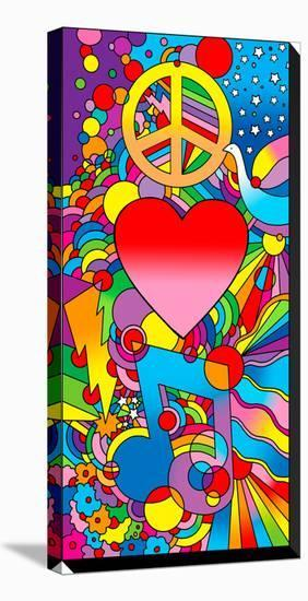 Peace Love Music-Howie Green-Stretched Canvas Print
