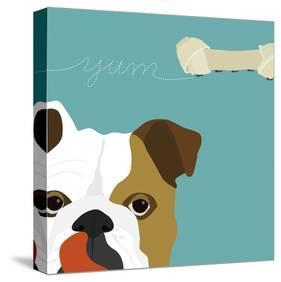 Peek-a-Boo Bulldog-Yuko Lau-Stretched Canvas