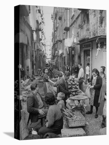 People Buying Bread in the Streets of Naples-Alfred Eisenstaedt-Stretched Canvas Print