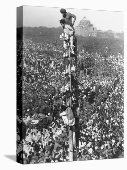 People Watching Mohandas K. Gandhi's Funeral from Tower-Margaret Bourke-White-Stretched Canvas Print