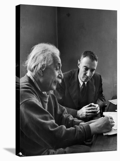 Physicist J. Robert Oppenheimer Discusses Theory of Matter with Famed Physicist Dr. Albert Einstein-Alfred Eisenstaedt-Stretched Canvas Print