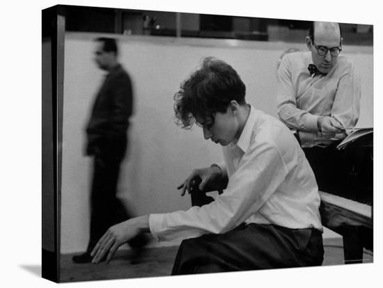 Pianist Glenn Gould Listening Intensely to Performance of Bach's Goldberg Variations Played Back-Gordon Parks-Stretched Canvas Print
