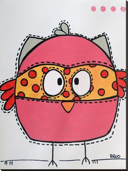 Pink Birrdz-Annie Rodrigue-Stretched Canvas Print