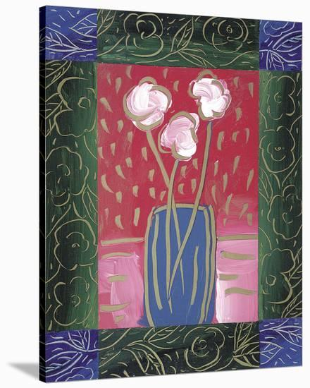 Pink Flowers on Red-James Hussey-Stretched Canvas Print