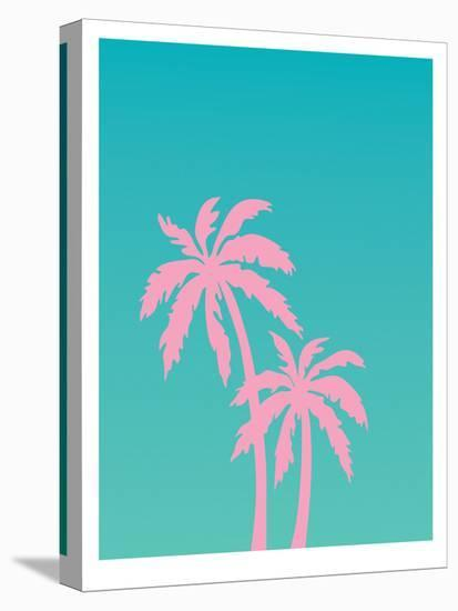 Pink Palm Tree-Ashlee Rae-Stretched Canvas Print