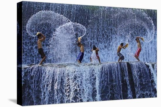 Playing With Splash-Angela Muliani Hartojo-Stretched Canvas Print