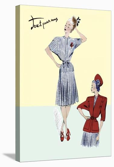 Pleated Sailor Dress with Jacket, 1947--Stretched Canvas Print