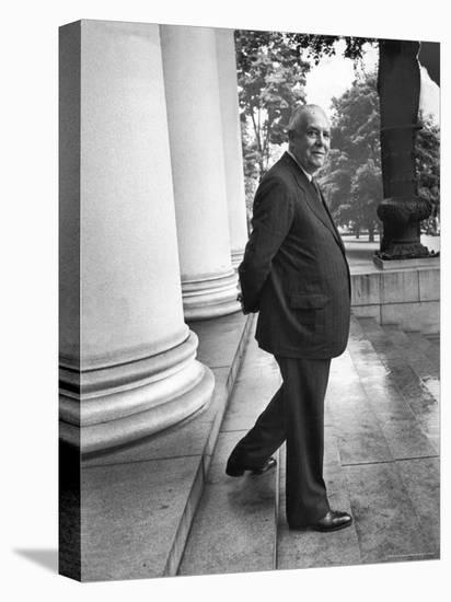 Poet and Vice President of Hartford Accident and Indemnity Co, Wallace Stevens Standing on Steps-Walter Sanders-Premier Image Canvas