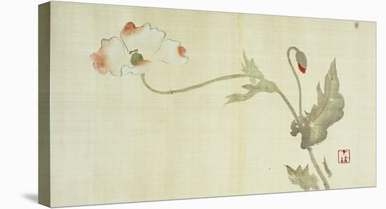 Poppy from Primrose, Mount Fuji, Bamboo and Toy Bird, Kanzan and Jittoku, Cuckoo under the Moon,…-Sakai Hoitsu-Stretched Canvas Print