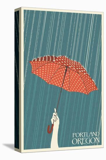 Portland, Oregon - Umbrella-Lantern Press-Stretched Canvas Print