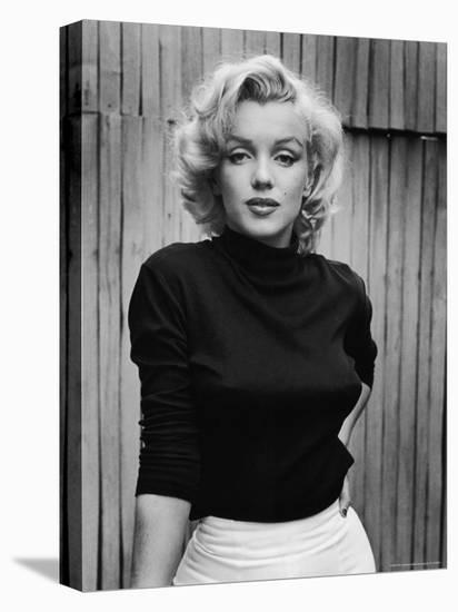 Portrait of Actress Marilyn Monroe on Patio of Her Home-Alfred Eisenstaedt-Stretched Canvas Print