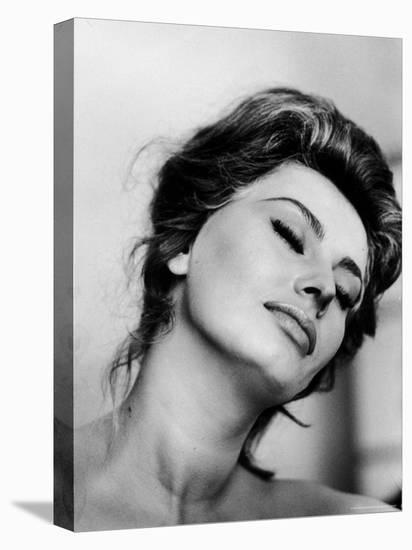 Portrait of Actress Sophia Loren with Eyes Closed-Alfred Eisenstaedt-Stretched Canvas Print