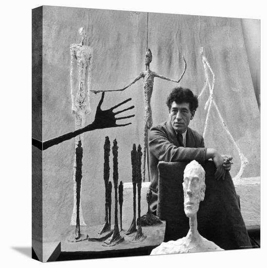 Portrait of Alberto Giacometti Surrounded by His Sculptures-Gordon Parks-Stretched Canvas Print