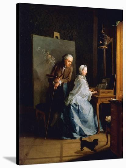 Portrait of Artist and His Wife at Spinet-Johann Heinrich Tischbein-Stretched Canvas Print