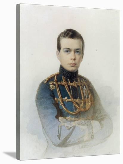Portrait of Grand Duke Alexander Alexandrovich, Later Tsar Alexander III, 1861-Andrei Franzovich Belloli-Stretched Canvas Print