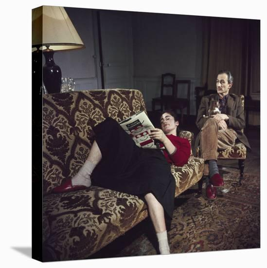 Portrait of Painter Balthus and His Niece Frederique Tison at the Chateau De Chassy-Loomis Dean-Stretched Canvas Print