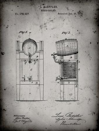 PP186- Faded Grey Beer Keg Cooler 1876 Patent Poster-Cole Borders-Stretched Canvas Print
