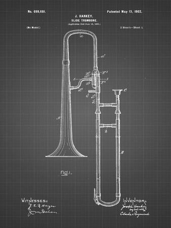 PP261-Black Grid Slide Trombone Patent Poster-Cole Borders-Stretched Canvas Print