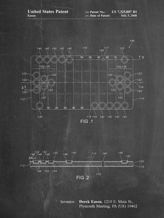 PP731-Chalkboard Beer Pong Patent Poster-Cole Borders-Stretched Canvas Print
