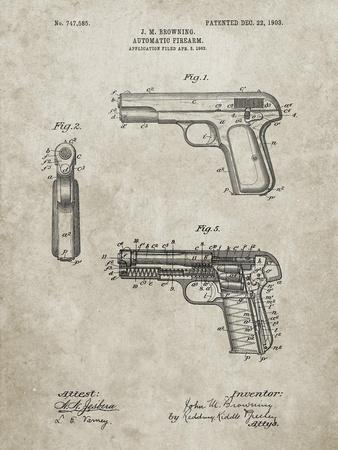 PP755-Sandstone Browning No. 2 Handgun Patent Poster-Cole Borders-Stretched Canvas Print