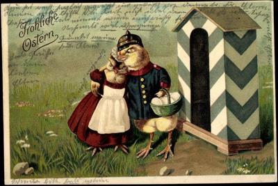 Präge Litho Frohe Ostern, Küken Als Soldat, Zollhaus--Stretched Canvas Print