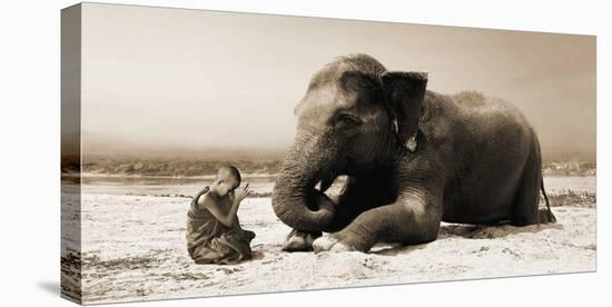 Praying by the River-Marc Moreau-Stretched Canvas Print