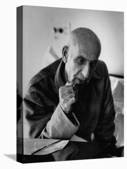 Premier Mohammed Mossadegh, Giving an Answer with a Forceful Fist Shake-Lisa Larsen-Stretched Canvas Print