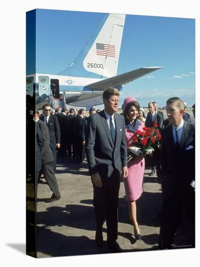 Pres. John F Kennedy and Wife Jackie at Love Field During Campaign Tour on Day of Assassination-Art Rickerby-Stretched Canvas Print