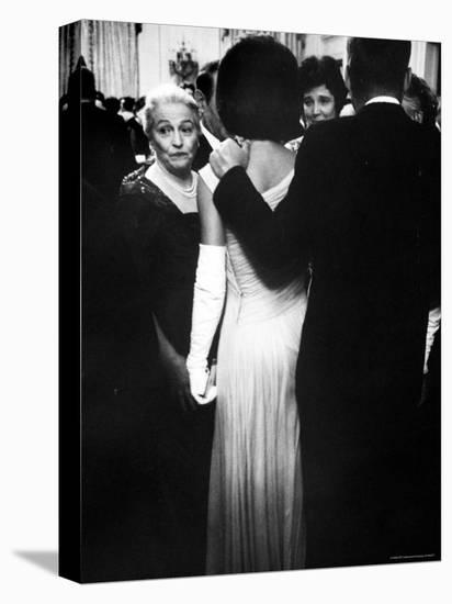 Pres.John F Kennedy and Wife with Author Pearl Buck at Party for Nobel Prize Winners at White House-Art Rickerby-Stretched Canvas Print