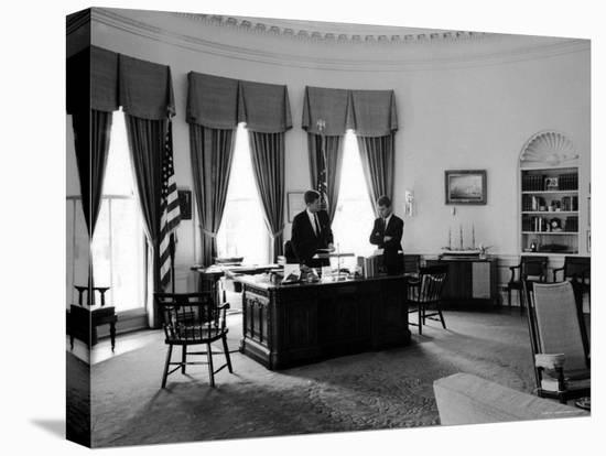President John F. Kennedy in Oval Office with Brother, Attorney General Robert F. Kennedy-Art Rickerby-Stretched Canvas Print