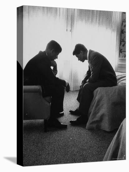 Presidential Candidate John Kennedy Conferring with Brother and Campaign Organizer Bobby Kennedy-Hank Walker-Stretched Canvas Print