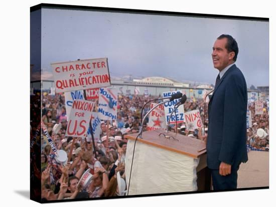Presidential Candidate Richard Nixon on the Campaign Trail-Arthur Schatz-Stretched Canvas Print