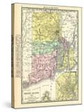 191x  Rhode Island State Map With Providence Inset  Rhode Island  United States