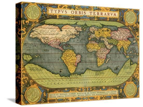 Oval world map 1598 stretched canvas print by abraham ortelius at abraham ortelius oval world map 1598 gumiabroncs Image collections