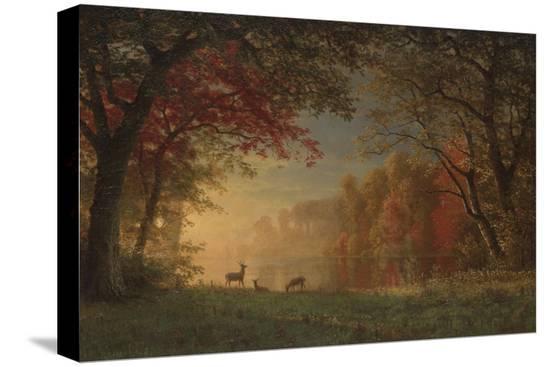 albert-bierstadt-indian-sunset-deer-by-a-lake-c-1880-90