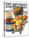 """""""Lunchtime at the Grocery """" Saturday Evening Post Cover  August 31  1940"""