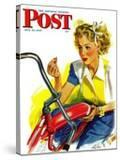 """Flat Bike Tire "" Saturday Evening Post Cover  July 24  1943"