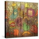 Colorful Doodle Illustrations Set with Many Fantasy Funny Characters  Monsters  Strange Creatures O