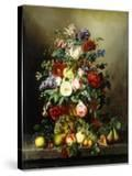 A Still Life with Assorted Flowers  Fruit and Insects on a Ledge