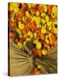 Single Marigolds of Yellow and Orange are Sold by Bagful to Local Worshippers