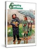 """""""Waiting for Bus in Rain """" Country Gentleman Cover  April 1  1948"""